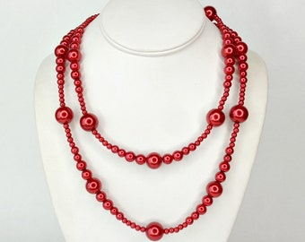 Statement Necklace, Red, Red Bead Necklace, Glass Pearl Necklace, Long Necklace, Long Pearl Necklace, Chunky Necklace, Beaded Necklace