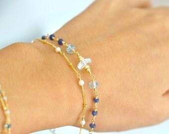 Blue Sapphire, Aquamarine, Freshwater Pearl Bracelet, Something Blue, Weddings, Blue Sappihre Bracelet, pearl gold bracelet, Gift For Her