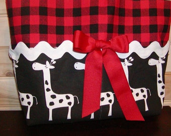 Diaper bag, handbag, purse, book bag..Giraffes N Plaid w/Ric Rac..with name, choose end pockets and a font. Customize yours now.