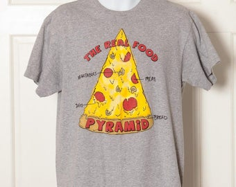 Vintage 90s Pizza Tshirt - The Real Food Pyramid - L