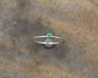 Emerald Stacking Ring in Rose Gold- Emerald Skinny Ring - Natural Emerald Ring - Emerald Rose Gold Ring - Round Emerald Stacking