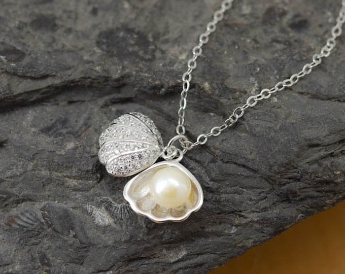 Shell Necklace, Shell Pendant, Pearl Necklace Pendant, 925 Sterling Silver, Crystal Necklace Pendant, Bridesmaid Gift, Bridesmaid Necklace