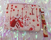 Queen of Hearts wristlet pouch makeup bag Red