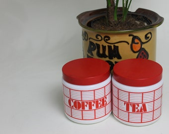 Red and White Milk Glass Tea and Coffee Canister Set