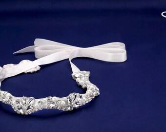 Pearl Crystal Sash, Beaded Wedding Belt, Bridal Dress Sash, Rhinestone Sash, Bridal Belt, Bridesmaids Sash Rhinestone Belt Pearl Bridal Sash