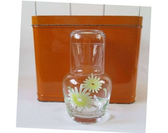 Glass Carafe and Matching Glass, Vintage Painted Flowers, Bedside Table, Personal Individual Serving Pitcher Retro Kitchen Serving Decor