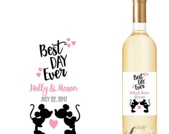Wedding Wine Bottle Labels with Best Day Ever and Mickey Mouse Kissing Minnie Mouse