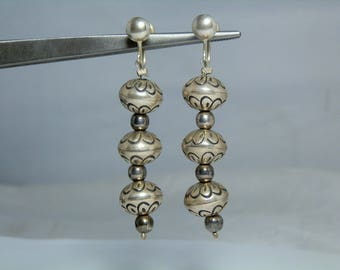 Vintage Navajo Sterling Silver Stamped Bead Screw Back Earrings 2.25 inches long Excellent Condition DanPickedMinerals
