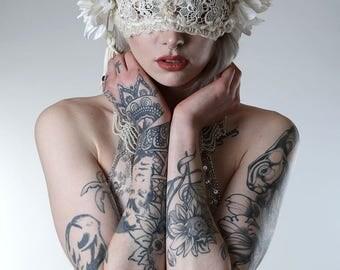 Ivory Lace & Flower Mask