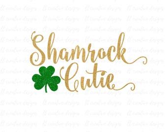 Shamrock Cutie SVG, Saint Patrick's Day Svg, Clover SVG, Silhouette Cut Files, Cricut Cut Files, Svg Files