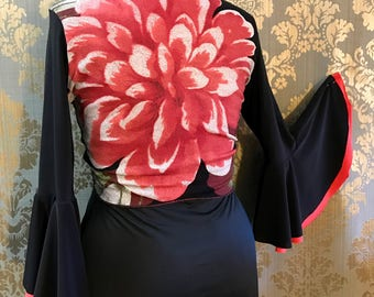 Reversible Red Rose and Black  Flamenco Wrap Top