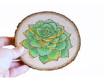 Succulent wood art, succulent wood sign, succulent painting, plant painting, succulent decor, wood slice art, cactus art, succulent sign