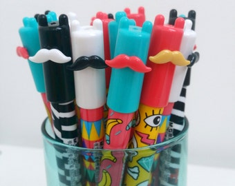 Brightly Coloured Moustache Gel Pens