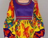 Vintage 1960's 70's Young Edwardian Psychedelic Neon Colorful Butterfly Ric Rac HiPPiE MiNi Dress Size XS S