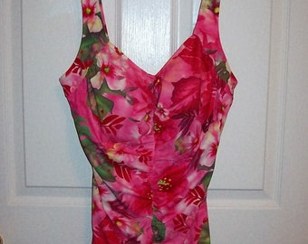 Vintage Ladies Pink, White & Green Floral One Piece Swimsuit by Le Cove Size 18 T Only 12 USD