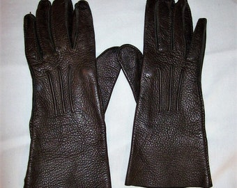 Vintage Ladies Brown Deerskin Leather Gloves Size 6 Only 6 USD
