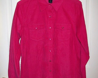 Vintage Ladies Hot Pink Corduroy Snap Front Western Shirt by Wrangler Blues Medium Only 9 USD