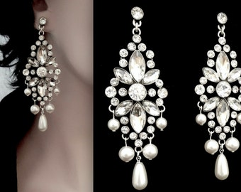 Pearl chandelier earrings, Brides earrings, Couture wedding earrings, Swarovski, Statement earrings, Crystal chandelier earrings ~ Art Deco