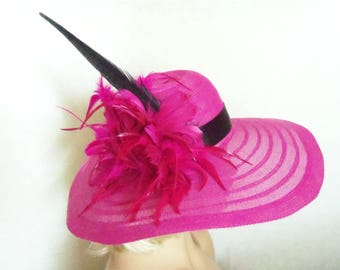 Hot Pink Hat- Kentucky Derby Hat - Garden Party Hat or Victorian Tea Party Hat