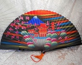 Vintage 60s Large Folding Japan Hand Fan Color Hand Painted Fabric   FanB