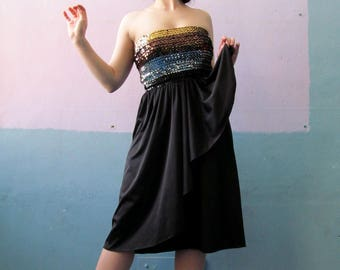 Vtg 70s Sequin Tube Top Dress / Disco Doll / Party Dress