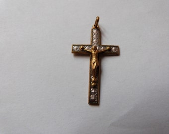 Antique French gold tone necklace pendant cross crucifix w glass inlay for rosary necklace religious cross w Jesus Christ corpus christi