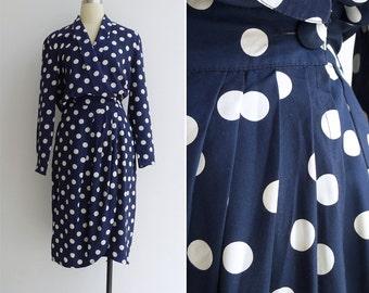 15% Code - MAR15OFF - Vintage 80's Navy Blue & White Polka Dot Button Wrap Dress M L or Xl