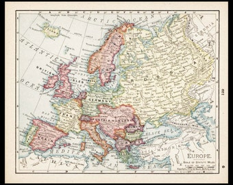 Small Europe Map of Europe, European Map (Antique Wall Decor Print, Old Atlas Wall Art, Color Map) Vintage 1900s Map No. 129-2