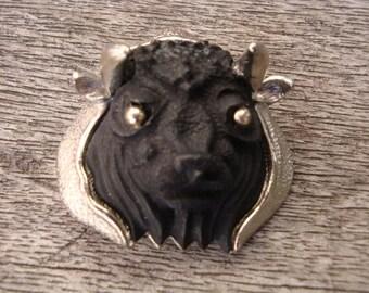 Luca RAZZA Black Bull  Brooch  1970s  Zodiac Taurus
