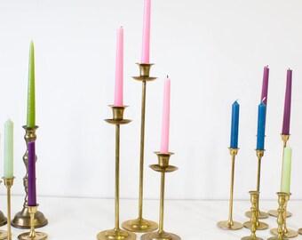 Brass Tulip Candlesticks, Vintage Set of 3, Entertaining / Home Decor
