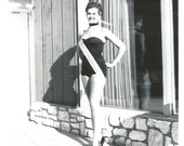 """Vintage Snapshot """"Miss Westinghouse"""" Pretty Girl Swimsuit Beauty Pagent Sash Reflection Found Vernacular Photo"""