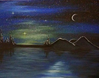 "Simple Nights Original Painting 14"" X 18"" Canvas - Free Shipping!"