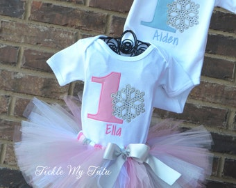 Winter ONEderland Snowflake Twin Birthday Tutu Outfit-Winter ONEderland Boy/Girl Twin Pink and Baby Blue Outfit-Winter ONEderland Twin Set