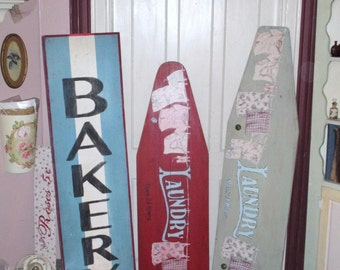 Antique BAKERY Sign HUGE Farmhouse Sign From Old Painted Re Purposed Wood Board 60 x 15 Cottage Kitchen