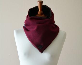 Burgundy cowl, cowl scarf, fleece neckwarmer, button neckwarmer, burgundy neckwarmer, womens neckwarmer, neckwarmer scarf, burgundy scarf