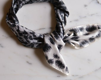 Black and White Leopard Silk Scarf, Echo, Designer Vintage Accessories, Animal Print