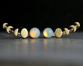 New: Waxing Moon and genuine vintage opal stone ear climbers. Tiny gold opal stud earrings. Moon phases earrings for her.