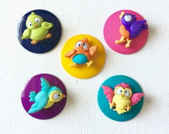 Bird Magnets, Sweet Little Birds, Colorful, Neodymium, Office Kitchen Decor