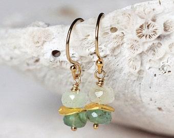 Gold Emerald Earrings - Dainty Green Earrings - Gold Gemstone Earrings - May Birthstone Jewelry - Emerald Jewellery - Emerald Drop Earrings