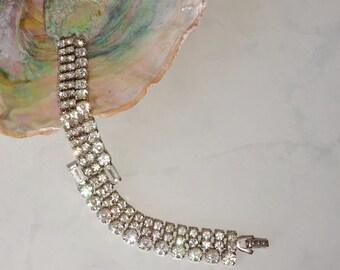 Vintage Rhinestone Bracelet Wide Band Crystal Silver Cuff