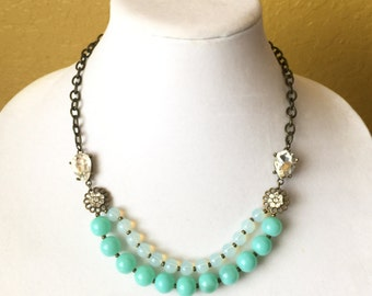 Teal Beaded Necklace, Aqua, Double Strand, Crystal, Jewels, Antique Gold, Bridesmaid