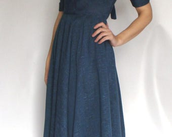 BLUE slubbed VINTAGE 1950's DRESS xs 24 waist new look
