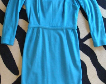 pool blue KNIT WIGGLE DRESS 1960's xs petite vintage