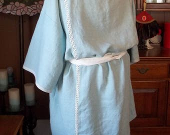 Pale Blue Linen Roman Tunic (Tunica) with White, Dark Blue, and Light Blue Wool Vertical Trim