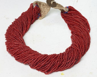 OLD TRIBAL JEWELRY - lovely rich maroon colored old tribal necklace from India -old hand made necklace reign George V 1930s
