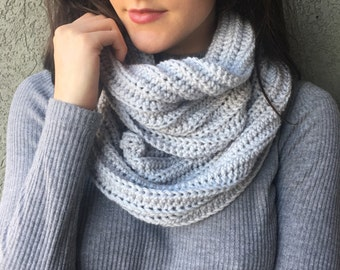 Grey Knit Infinity Scarf / Long Gray Eternity Cowl Scarf / Vegan Yarn