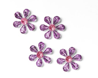 Flower Gem Magnets in Purple and Pink. Kitchen, Nursery, Kids Room Home Office Organization, Perfect for Spring and Summer Weddings.Set of 4