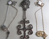 1990's Key and Lock Necklaces Goth Destash Charms Repurpose Steampunk Necklaces Tribal Costume Jewelry Lot Necklaces Lock and Key