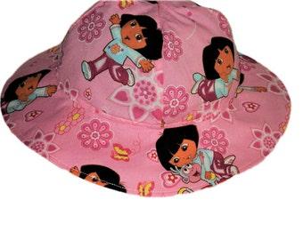 Girls Sun Hat, Pink Dora Hat, Summer Hat, Toddler Cotton Hat, Floppy Beach Hat, Girls Birthday Gift, Girl Clothes, Accessories Made To Order