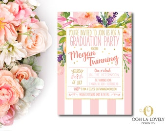 Graduation Party Invitation, Floral Graduation Invitation, printable birthday party invitation - DIY, Pink, Stripes, Modern
